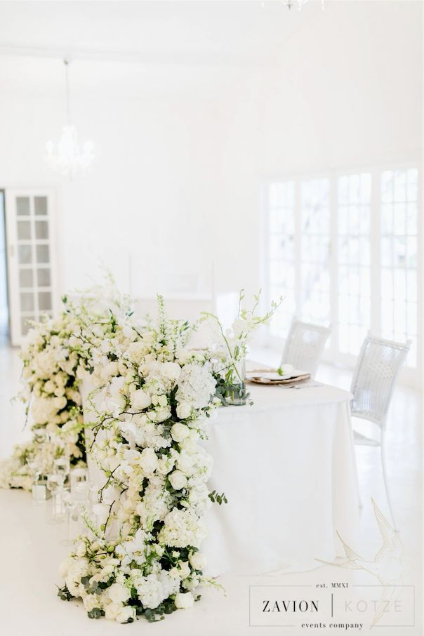 Brides table, bridal table, wedding main table. floral table, flower runner, floral runner, botanical flower runner, white flowers, white roses, hydrangeas, orchids, best bridal table. best wedding ever.