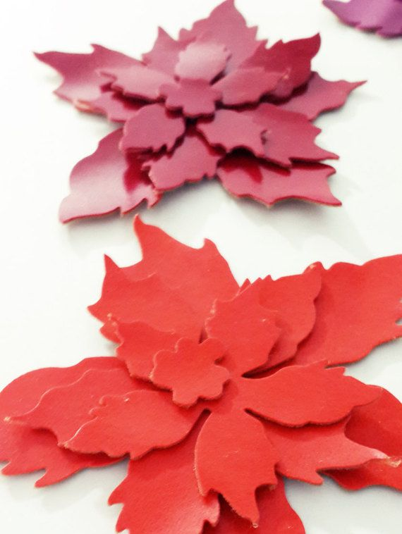 Faux Leather Die Cut Tattered Poinsettia Flower by MadeByOzras