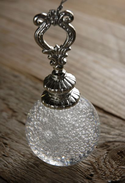 """What a great site. Someone said """"Like Oriental Trading for Adults!"""" YES! Dangerous!    5"""" Crystal Ball Decoration with Silver Hangers  $8 each / 3 for $6 each"""