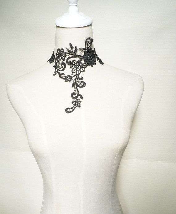 SALE large black lace choker bib necklace - hand dyed - Fabric art jewelry -  lace jewelry gift for her