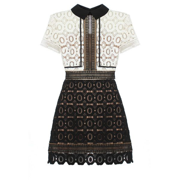 Self-Portrait Felicia Lace Mix Dress (£265) ❤ liked on Polyvore featuring dresses, robe, floral cocktail dress, short dresses, collar dress, floral print dress and a line mini dress