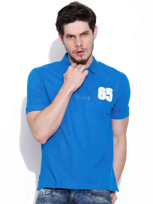 Dream of Glory Inc. Blue Striped Polo T-shirt