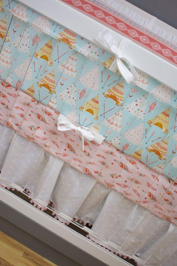 Crib Bedding Baby Girl Nursery Teepee Southwestern Baby