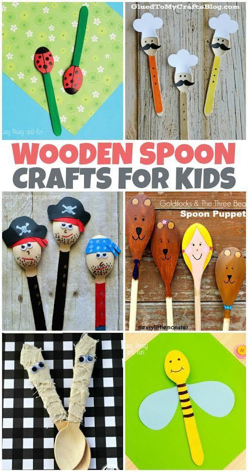 cuchara de madera para niños