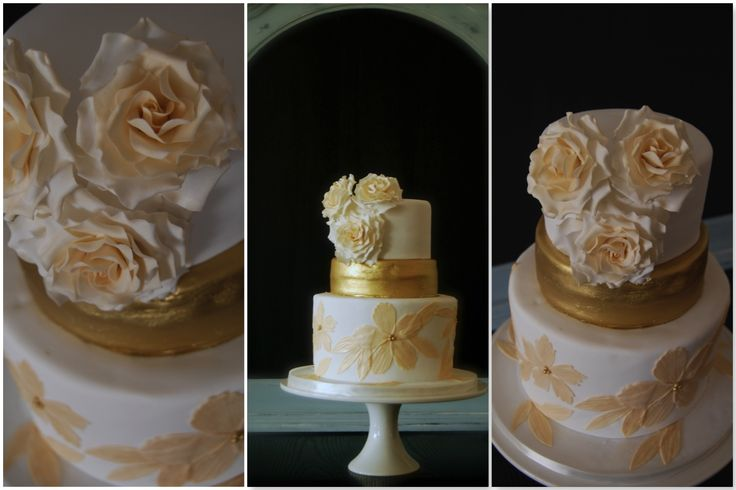Gold 50th Wedding Anniversary Cake with Sugar Roses