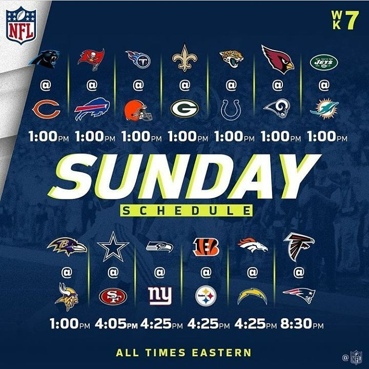 Week 7: This is a big one  Panthers @ Bears: Cam has really got going on offense but cann that defense match? I think so but it'll be close. Bears win.  Buccs @ Bills: No Jameis. No Offense. Bills win.  Titans @ Browns: Mariotta needs to step up today. Don't sleep on the Browns defense. Browns win tho (#ForTheCulture)  Saints @ Packers: No Aaron? No Defense. Easy Saints win.  Jags @ Colts: Without Luck or Fourtnette is there any point in watching this game? Jags win I guess.  Cardinals vs…