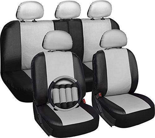 OxGord 17pc Set Faux Leather White Black Auto Seat Covers Set - Airbag - Universal Fit for Car, Truck, or SUV - Steering Wheel Cover. For product info go to:  https://www.caraccessoriesonlinemarket.com/oxgord-17pc-set-faux-leather-white-black-auto-seat-covers-set-airbag-universal-fit-for-car-truck-or-suv-steering-wheel-cover/