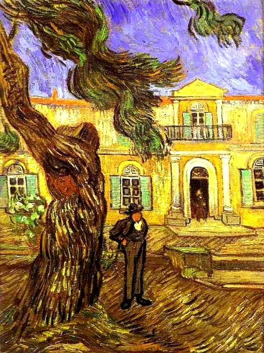 SAINT REMY nov.1889 / pijnboom voor de ingang van het gesticht / Vincent van Gogh: St. Paul's Hospital, 1889. Musée d'Orsay, Paris