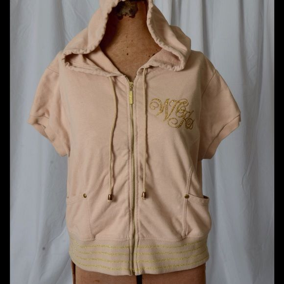 Wckd short sleeve hoodie Wckd vintage short sleeve hoodie.  Jacket is tan with gold decorations.  Gold zipper with pockets in front.. Wckd Jackets & Coats