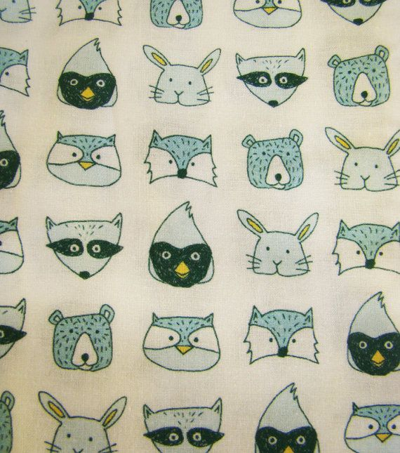 LAST TWO Forest Faces illustrated fabric fat by FandGForest