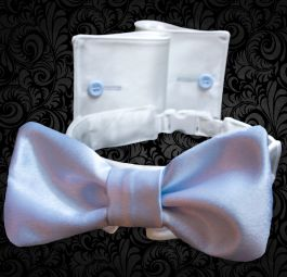 Light Blue  Formal Shirt-Style Dog Collar and Cuffs , Bow Tie, Suitable For Weddings, Events