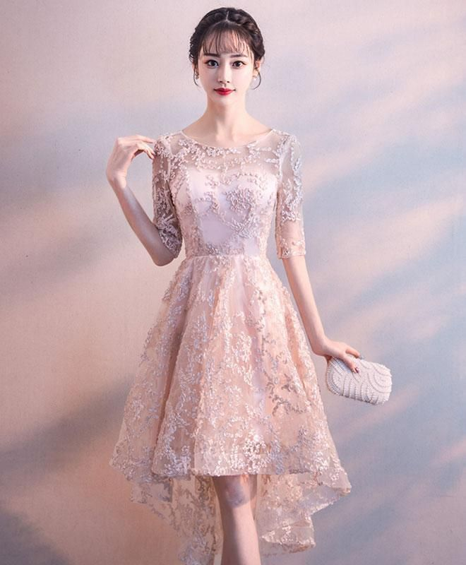 330958985bc Cute pink round neck lace short prom dress