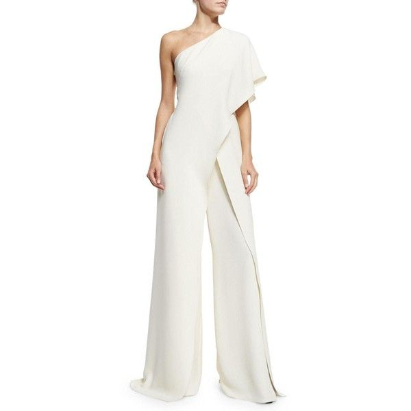 Ralph Lauren Collection One-Shoulder Silk Crepe Jumpsuit ($3,990) ❤ liked on Polyvore featuring jumpsuits, cream, white wide leg jumpsuit, cream jumpsuit, jump suit, draped jumpsuit and ralph lauren collection