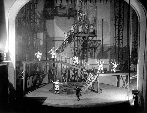 Scene from Maiakovski's The Bath, directed by Vsevolod Meyerhold