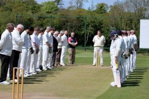 Minute Silence by both Cork County and The Hills players in honour of the late Munster Cricket Union President Leo Durity