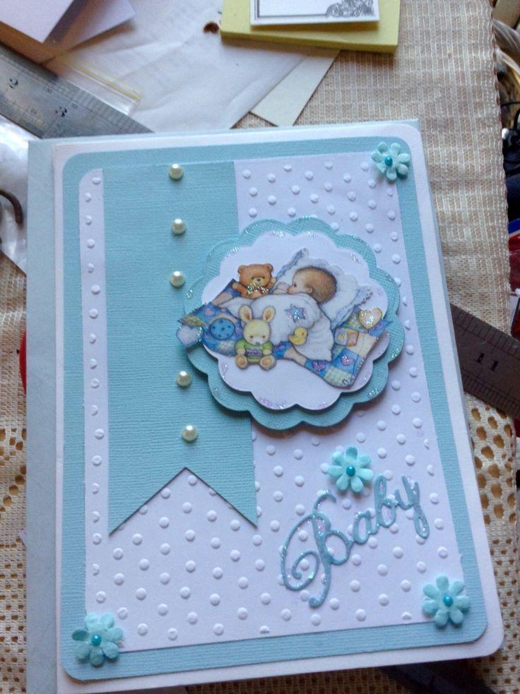 Baby boy card for a baby shower Babykarten, Karten