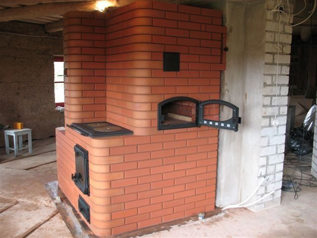russian fireplace with pizza oven   The Russian fireplace above has cooking surface above the firebox and stove top type surface