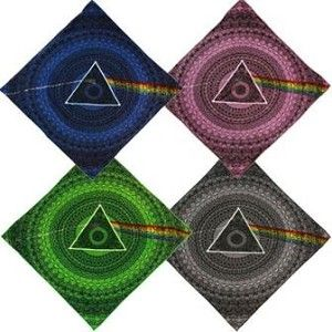 """Pink Floyd - Dark Side of the Moon Shadow Bandana  Pink Floyd bandana has icons & image from the Dark Side of the Moon album. Slightly different look than our Pink Floyd """"lyric"""" bandana. It is a super high quality bandana that is made of 100% cotton. Available in 4 different colors. It measures 22"""" x 22"""". Officially licensed Pink Floyd merchandise. #sunshinedaydream #hippieshop"""
