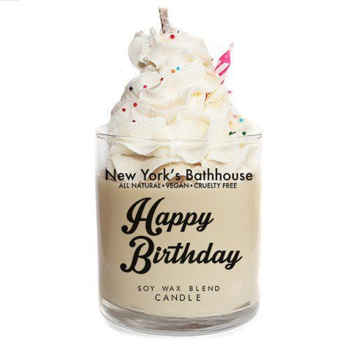 Soy wax blend scented candle in glass container with no lid. Buttercream icing with vanilla cake! Weighs 7.8oz Handcrafted in New York City.