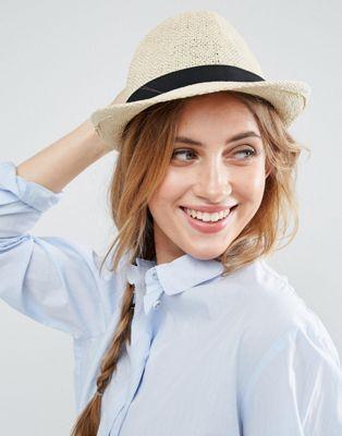Соломенная шляпа-трилби ASOS