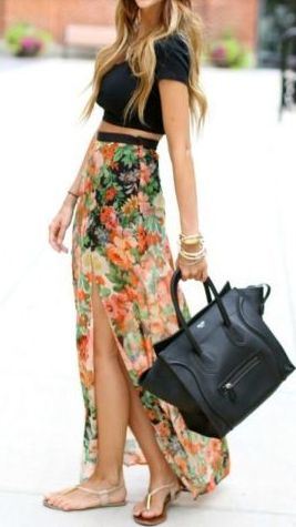 High waisted maxi + crop top.