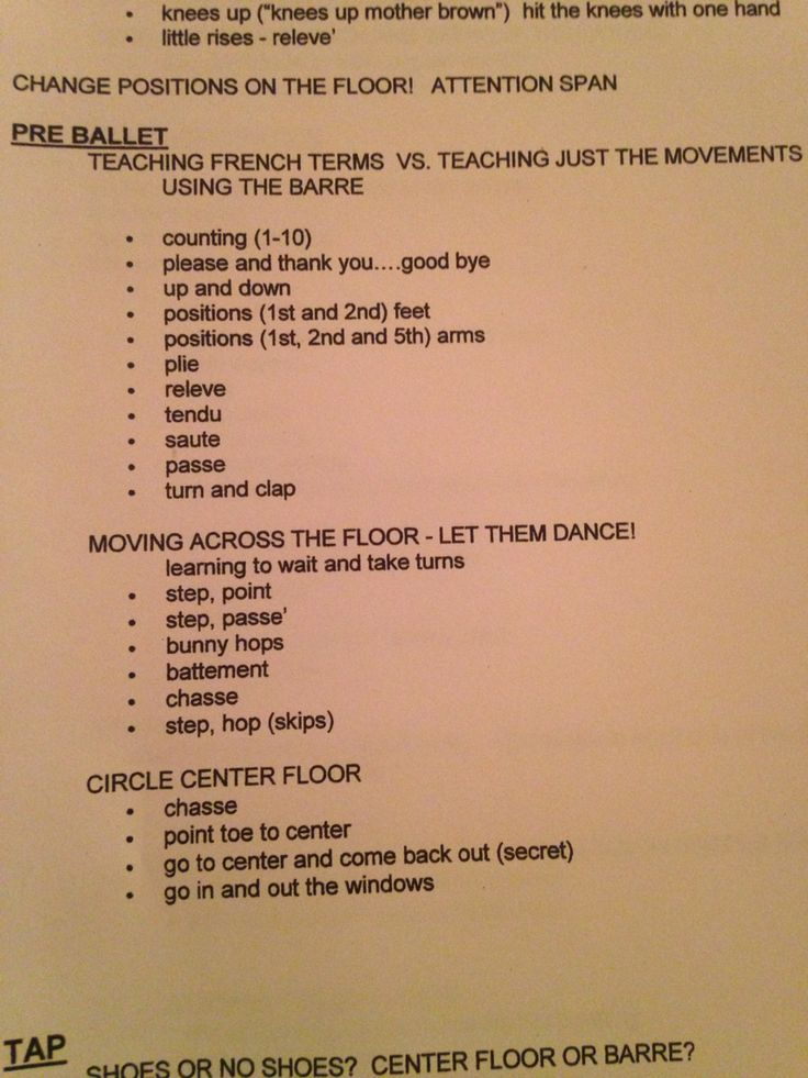 Pre-Ballet Steps