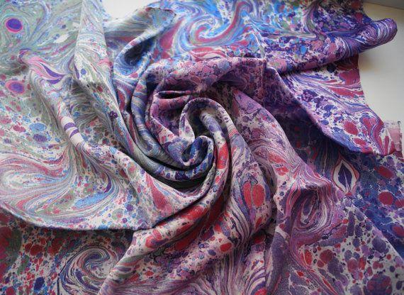 Silk Square Scarf, Marbled Silk Scarf, Handpainted Square Scarf, Hand-Painted Neckerchief, Lilac Silk Scarf, Purple Silk Neckerchief, Gift