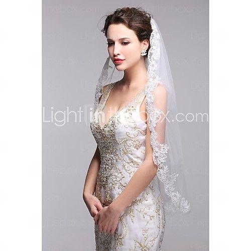 Wedding Veil One-tier Fingertip Veils Lace Applique Edge - USD $14.99