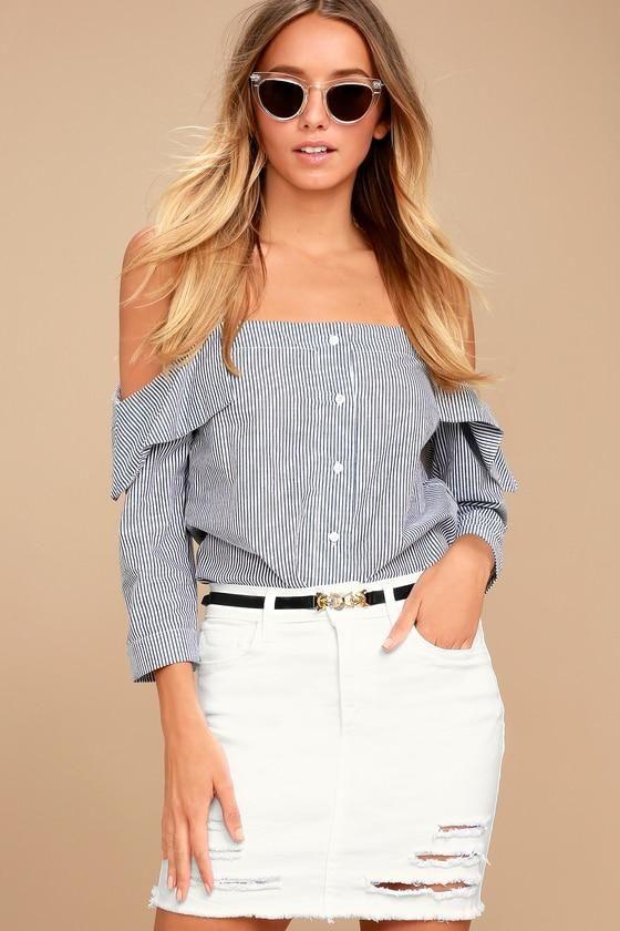 f4a665acc5 #EnvyWe #Lulus - #Lulus Mini Oh My White Distressed Denim Mini Skirt - Lulus  - EnvyWe.com