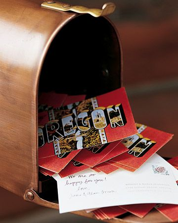Rather than signing a traditional guest book, guests at Maria and Robert's wedding were given postcards with the bride and groom's address printed on the back to fill with good wishes during the reception and drop in a copper mailbox displayed in the lobby. The cards are to be mailed the next day by a friend of the couple so that the newlyweds will return from their honeymoon to a brimming mailbox.