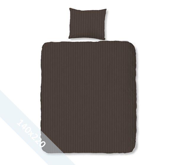 Satin d'Or 'streep' éénpersoons (140x220 cm) dekbedovertrek bruin. Wentel je in het stijlvolle en luxe van een hotelsuite met dit dekbedovertrek van katoen satijn. Door verschillende weeftechnieken ontstaan de verschillende banen mat en glans.