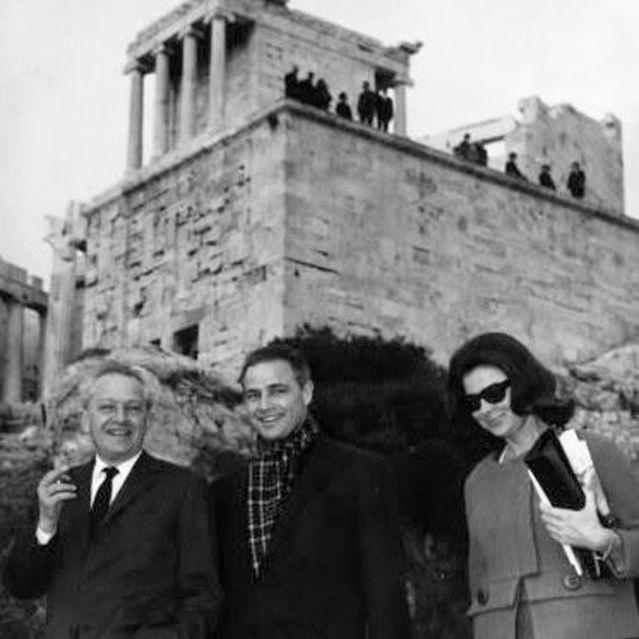Jules Dassin and Marlon Brando at the Acropolis
