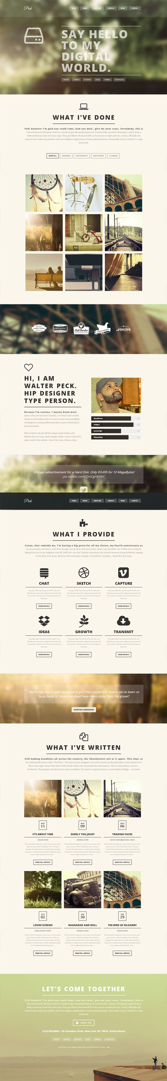 PECK - Creative One Page WordPress Theme  Tendances Iscomigoo Webdesign http://iscomigoo-webdesign.blogspot.fr  #iscomigoo #webdesign #tendances