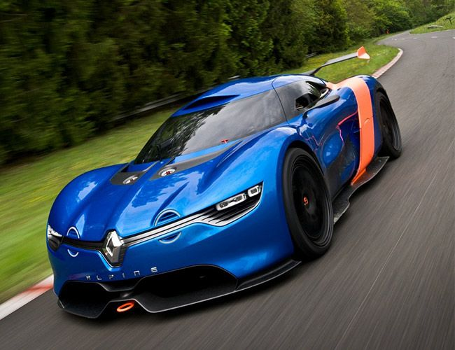 Renault A110-50 Concept - Based on the Renault DeZir Concept that showed up at the 2010 Paris Motor Show, the A110-50 sports a carbon fiber body in Alpine Blue with half circle yellow LED lights and a hood bulge reminiscent of the original. The A110-50 is powered by a 3.5 liter 400 horsepower mid-rear mounted V6 that pipes the battle cry of an angry hornet through its exhaust.   #Cars #Concept #Automobile #Renault  