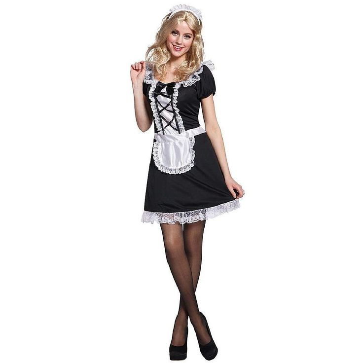 Totally Ghoul Women's French Maid Halloween Costume,One Size Fits Most, Black