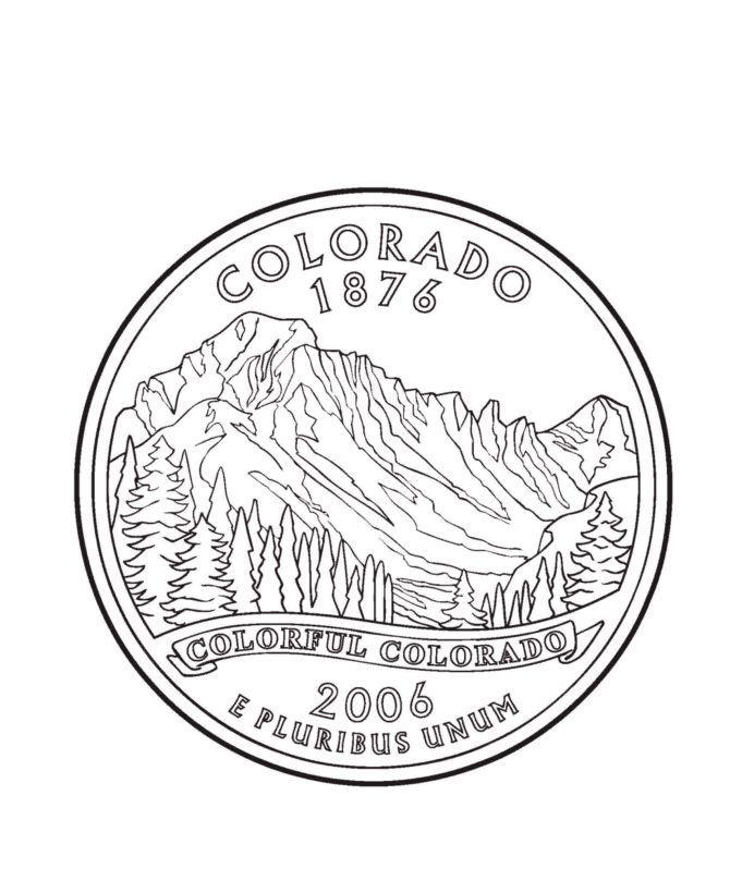 colorado state quarter coloring page