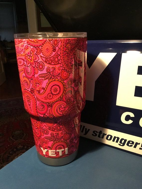 Beautiful hydro dipped 30oz Yeti Rambler in a paisley pattern with pink base. Great for hot or cold beverages. Not dishwasher safe