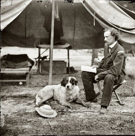 Genral Custer & dog, great view inside a tent and its set up