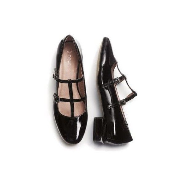 431ac413bb5af Black Patent Double T-Bar Shoes ($38) ❤ liked on Polyvore featuring shoes,  flats, footwear, kohl shoes, black shoes, t-strap flats…