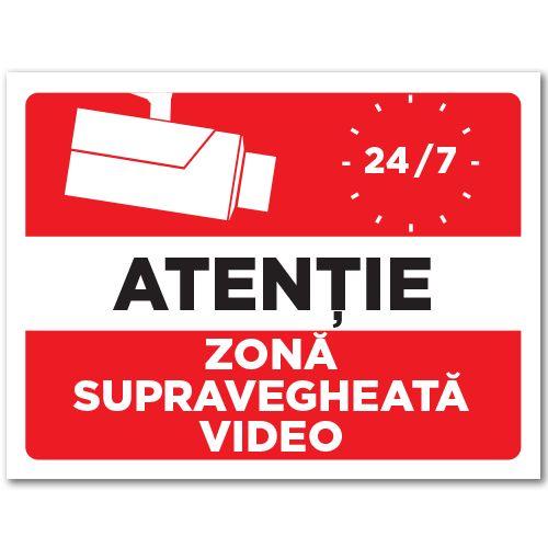 Indicator Zona supravegheata video    Indicator de atentionare, cu mesajul Atentie! Zona supravegheata video 24/7 si o camera de luat vederi.  Indicatorul este realizat din material Hipps.