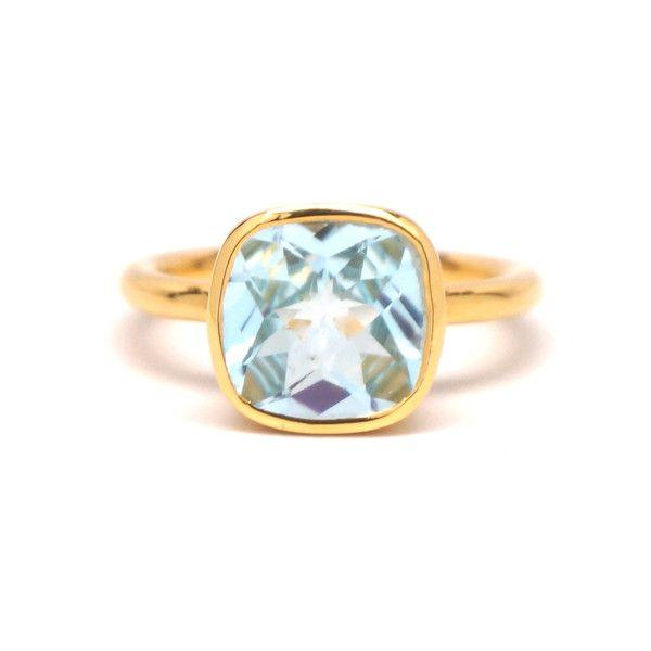 Blue Quartz Square Gold Ring $59.00