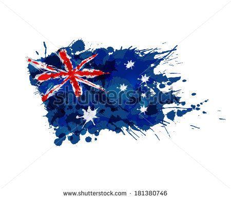 Australian flag made of colorful splashes - stock vector
