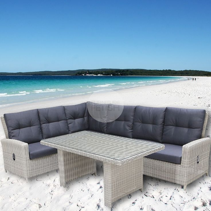 The great Australian weather has made outdoor entertaining areas as important as any other room in the house. That is why our Atlantis lounge and dining combination set is the perfect addition to any outdoor living area as it combines 2 sets in one.  The Atlantis lounge and dining combination can sit up to 6 people. There are 6 large seats with high cushioned backrests and also included is a large dining table so this is versatile to be used as both a dining setting or lounge set as one.