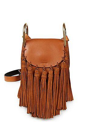 Oh my gooooooodness, want! Need! Help! Chloe Hudson Small Leather & Suede Tassel Shoulder Bag
