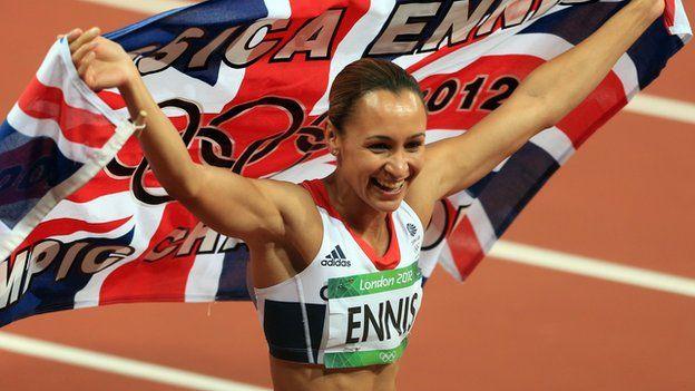 Jessica Ennis celebrates her golden win