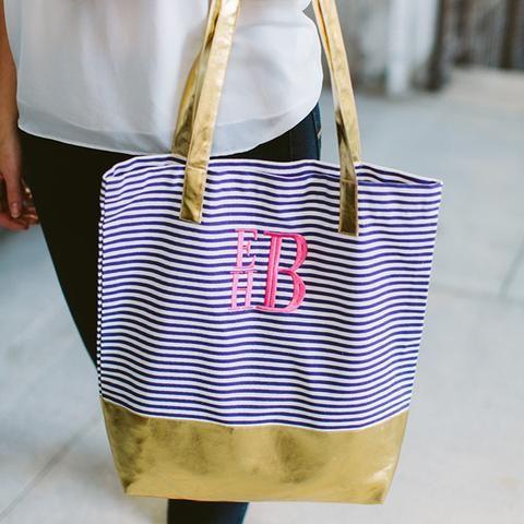 Gold Color Block Monogram Tote Bag - 3 Colors | Three Hip Chicks