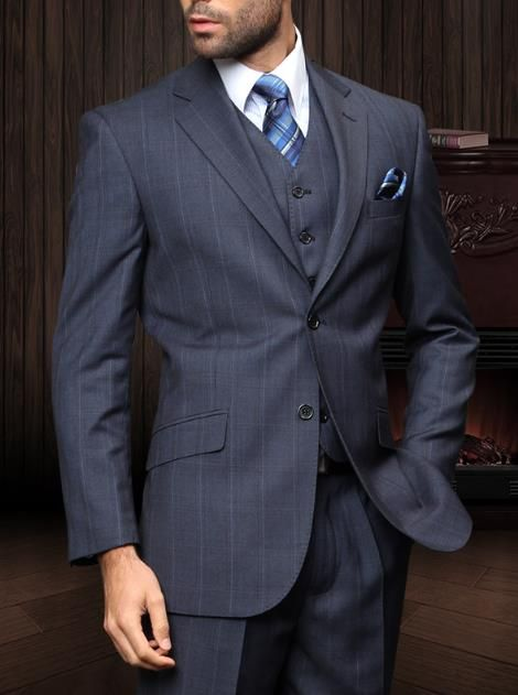 Navy Windowpane Suit☆ Impeccable Gent☆ Mens Clothing
