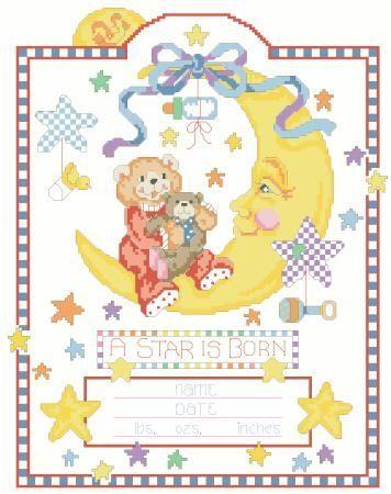 Celestial Moon Birth Record Cross Stitch Pattern