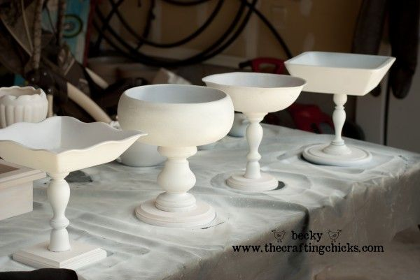 Bowls on candlesticks...I need to head to the thrift store.: Blog Post, Craft Ideas, Painted Wooden Bowl
