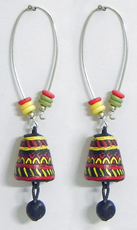 Pair of Hand Painted Yellow with Red Design on Black Terracotta Dangle Earrings (Terracotta)